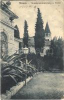 1909 Abbazia, Opatija; Strandpromenadenweg und Kirche / promenade and church / sétány és templom (EK)