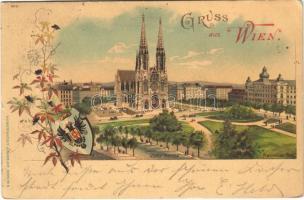 1898 Wien, Vienna, Bécs; Votiv-Kirche, Maximilian-Platz / church, square. Kunstanstalt J. Miesler 602. Art Nouveau, coat of arms, floral, litho (worn corners)