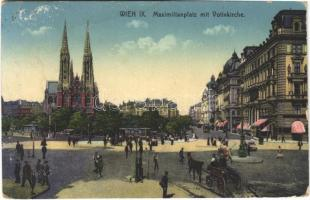 Wien, Vienna, Bécs; Maximilianplatz mit Votivkirche / square, street view, church, tram (EB)