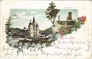 Mariazell (Steiermark), Bürgeralpe / pilgrimage church, mountain, lookout tower. Art Nouveau, floral (worn corners)