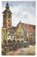 Ceské Budejovice, Budweis; Ringplatz / square, market. Deutscher Schulverein Karte Nr. 435. artist signed