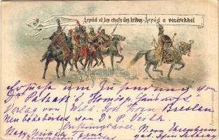 1896 (Vorläufer!!!) Árpád et les chefs des tribus / Árpád a vezérekkel; Ezredéves Országos Kiállítás, barna 2 Kr Ga. litho (EK)