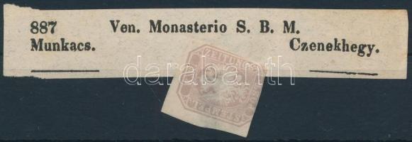 1863 Hírlapbélyeg papírelvékonyodással, bélyegzés nélkül Czenekhegyre küldött újság címzésén