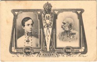 1848-1908 Ferenc József uralkodásának 60. évordulója alkalmából kiadott lap / Kaiser Franz Josef I / Franz Josephs 60th anniversary of reign. Art Nouveau. B.K.W.I. 941-1. (EB)