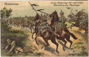 1914 Erste Niederlage der englischen Kavallerie bei Maubeuge. Der Weltkrieg 1914. Feldskizze / WWI German military art postcard