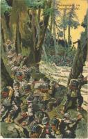 1915 Nahkämpfe im Argonnerwald. Der Weltkrieg 1914/15 / WWI German military art postcard s: K. Winter (EK)
