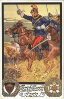 Marsch, Marsch! Hurra! / WWI German military art postcard. Deutscher Schulverein Karte Nr. 686. (EK)