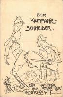 Beim Kompanie-Schneider / WWI Austro-Hungarian K.u.K. military humour art postcard. Deutschmeister Witwen- und Waisen-Stiftung (Aktion im Felde) Nr. 53. s: Rud. Kristen (EK)