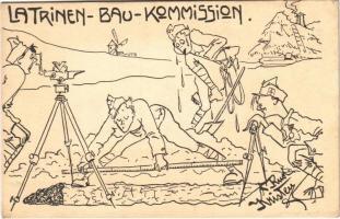 1917 Latrinen-Bau-Kommission / WWI Austro-Hungarian K.u.K. military humour art postcard. Deutschmeister Witwen- und Waisen-Stiftung (Aktion im Felde) Nr. 79. s: Rud. Kristen (EK)