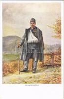 Verwundeter / WWI Austro-Hungarian K.u.K. military art postcard, injured soldier. Offizielle Karte des Kriegshilfsbüros Invaliden-Hilfsaktion Nr. 21-4. artist signed