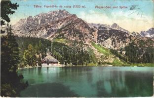 Tátra, Magas-Tátra, Vysoké Tatry; Poprádi-tó és csúcs. Cattarino S. utóda Földes Samu kiadása 212. sz. / Popper-See und Spitze / Popradské pleso / lake (ragasztónyom / glue mark)