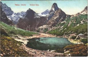 Tátra, Magas-Tátra, Vysoké Tatry; Zöld tó. Cattarino S. utóda Földes Samu kiadása 174. sz. / Zelené pleso / Grüner-See / lake