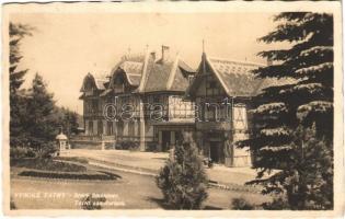 1936 Ótátrafüred, Altschmecks, Stary Smokovec (Magas Tátra, Vysoké Tatry); Tátra szanatórium, fürdőigazgatóság, automobil / sanatorium, spa directorate, automobile