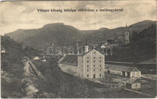 1910 Vihnye, Vyhne; malátagyár, templom. Liptay László kiadása / malt factory, church (EK)