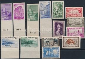 Monaco 1946-1949 14 klf. vágott bélyeg (Yvert szerint 2 teljes sor) (Yvert EUR 103.-)