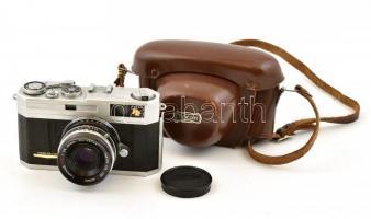 Taron PR kamera Taronar 2,8-45 mm objektívvel, bőr tokkal, jó állapotban. / 1960 Taronar Japanese camera in good condition