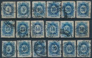 1874 Távírda krajcáros értékek színváltozatokkal, 18 bélyeg (27.000)
