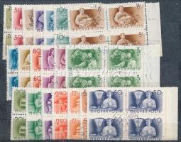 1950-1957 3 klf kiadás sorai négyestömbökben (6.000)