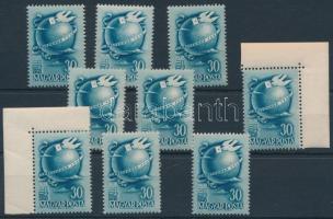 1948 9 db BÉLYEGNAP (21.) bélyeg ,benne ívsarki bélyeggel (10.800)