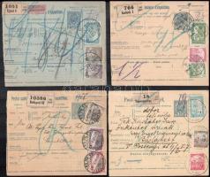 1917 4 db szállítólevél, mind más 3 színű bérmentesítéssel