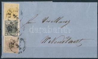 1856 1kr + 2kr + 6kr levélen PESTH - Wr. Neustadt. Certificate: Ferchenbauer (Ferchenbauer EUR 4.500,-)