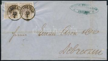 1854 6kr pár levélen SZOLNOK - Debreczin (kiállítási minőség!) (Ferchenbauer EUR 450,-)