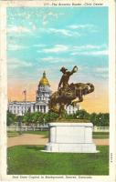 Denver (Colorado), the Broncho Buster, civic center, and State Capitol in background (wet damage)