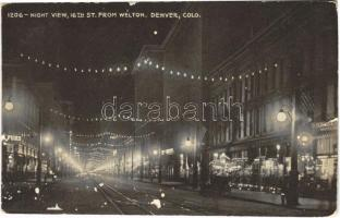 Denver (Colorado), night view, 16th st. from Welton (wet damage)