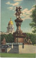1953 Denver (Colorado), the pioneer monument with the dome of the State Capitol in background, civic center (wet damage)