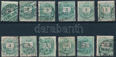 1881 12 db Színesszámú 3kr foltokkal és lemezhibákkal