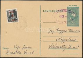 1945 18f díjjegyes levelezőlap nagyváradi 60f felülnyomással és Hadvezérek 1P/18f díjkiegészítéssel, a bélyeg fordított felülnyomással BARÁTKA - Nagyvárad. Cerfiticate: Flasch (a világháborús kiadások egyik ritkasága)