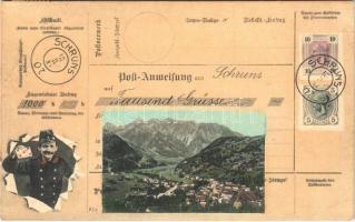 1908 Schruns (Vorarlberg), Post-Anweisung aus Schruns auf Tausend Grüsse / Montage with postal order and postman. Verlag F. Moosbrugger