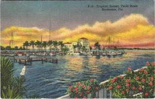 1958 Bradenton (Florida), tropical sunset, yacht basin, boats