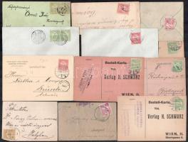 18 db levél küldemény Turul bélyegekkel bérmentesítve 1904-től