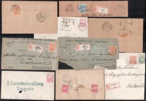 1871-1898 9 db küldemény, közte díjjegyesek, ajánlott levél és kivágás