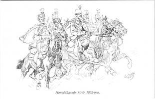 Honvédhuszár járőr 1892-ben. Honvédség története 1868-1918 / WWI Austro-Hungarian K.u.K. military art postcard, hussar patrol in 1892 s: Garay