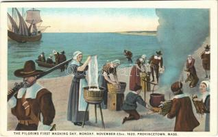 Provincetown (Massachusetts), the pilgrims first washing day, Monday, November 23rd, 1620, ship