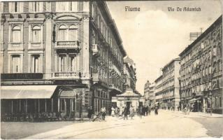 1918 Fiume, Rijeka; Via de Adamich / street view, bank, shops