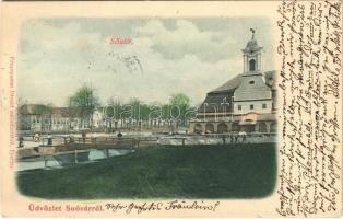 1900 Tótsóvár, Sóvár, Solivar (Eperjes, Presov); Sétatér. Fénynyomat Divald műintézetéből / promenade (EK)