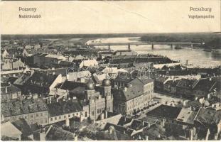 1906 Pozsony, Pressburg, Bratislava; Madártávlatból, zsinagóga, híd. Bediene dich allein / Vogelperspective / general view, synagogue, bridge (fa)