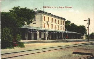 1912 Lajtabruck, Bruck an der Leitha; Ungar. Bahnhof / Bruck-Királyhida vasútállomás / railway station (EB)