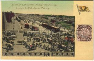Beijing, Peking; Bahnhof & Droschken Halteplatz / railway station and cabstand