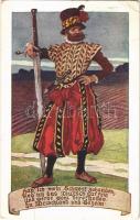 1915 Hab ich mein Schwert zuhanden... / WWI Austro-Hungarian K.u.K. military charity fund art postcard. Offizielle Karte für Rotes Kreuz, Kriegsfürsorgeamt Kriegshilfsbüro Nr. 202. (szakadás / tear)