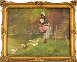 Jelzés nélkül, feltehetően a XX. sz. első felében működött festő munkája: Kacsákat etető lány. Olaj, karton. Dekoratív fa keretben, 40,5×50,5 cm