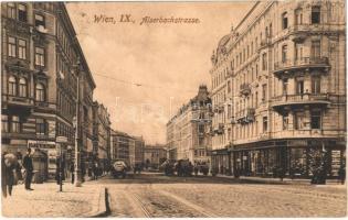 1909 Wien, Vienna, Bécs IX. Alserbachstrasse, Cafe Gorge, Schneider Meister, Dr. Müller, Thee Branntweinschank, Strassenbahn Haltestelle / street, shops, tram stop