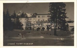 1938 Tátra, Magas Tátra, Vysoké Tatry; Hrebienok / Sport szálloda a Tarajkán télen / hotel in winter