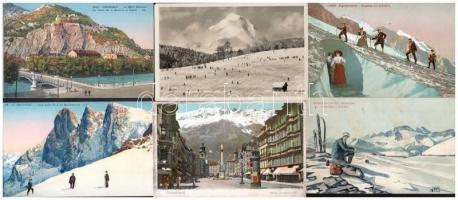 10 db RÉGI téli sport motívum képeslap: helyszínek / 10 mostly pre-1945 winter sport motive postcards: resorts, places
