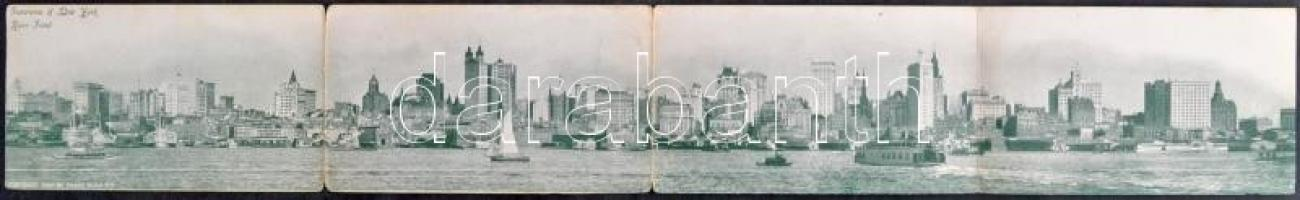1901 New York, River Front Panorama - 4-tiled folding panoramacard (bent til broken)