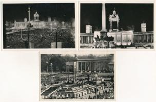 1938 Budapest XXXIV. Nemzetközi Eucharisztikus Kongresszus, este / 34th International Eucharistic Congress night - 3 db képeslap / 3 postcards