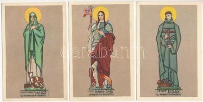 Budapest II. Pasaréti Ferences templom, Unghváry Sándor: Cortonai Sz. Margit, Szent Didák, Szent Jeanne dArc - 3 db képeslap